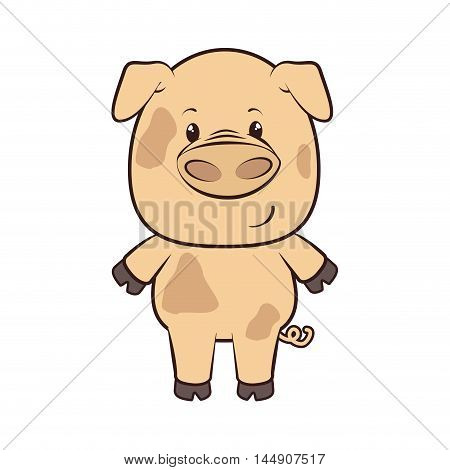 pig animal adorable piggy cartoon farm character vector illustration
