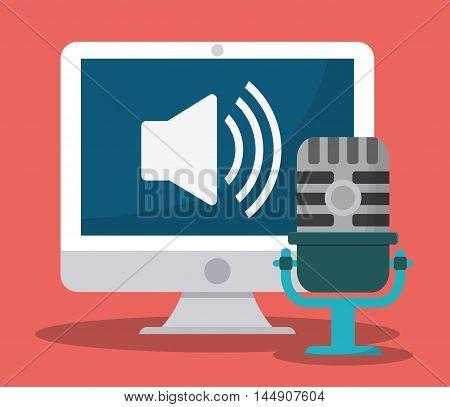 microphone computer gadget tool music sound voice con. Flat design. Vector illustration