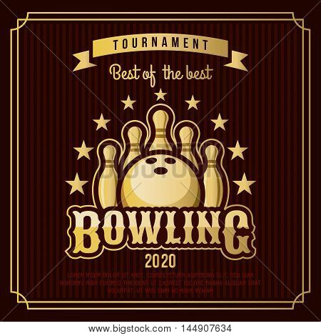 Bowling badge logo emblem tournament in vintage retro style template.