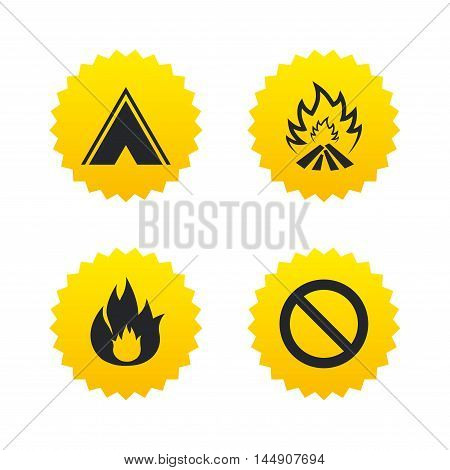 Tourist camping tent icon. Fire flame and stop prohibition sign symbols. Yellow stars labels with flat icons. Vector