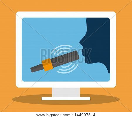 microphone computer head sing gadget tool music sound voice con. Flat design. Vector illustration
