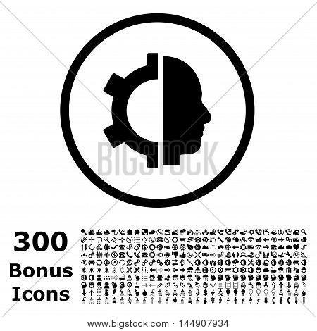 Cyborg Gear rounded icon with 300 bonus icons. Glyph illustration style is flat iconic symbols, black color, white background.