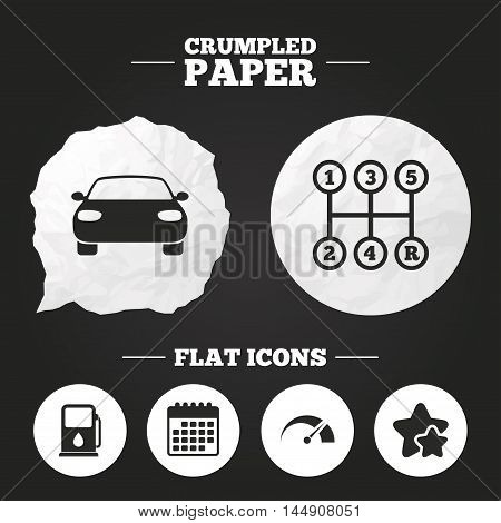 Crumpled paper speech bubble. Transport icons. Car tachometer and manual transmission symbols. Petrol or Gas station sign. Paper button. Vector