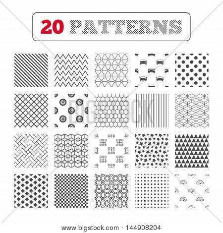 Ornament patterns, diagonal stripes and stars. Transport icons. Car tachometer and mechanic transmission symbols. Wheel sign. Geometric textures. Vector