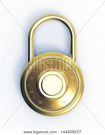 Illustration of Gold 3D locked combination pad lock on a white background