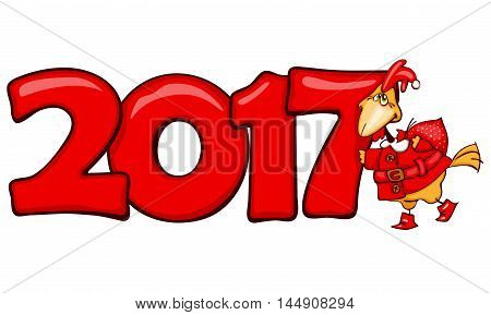 New Year's banner. Vector illustration of red rooster symbol of 2017 on the Chinese zodiac calendar.