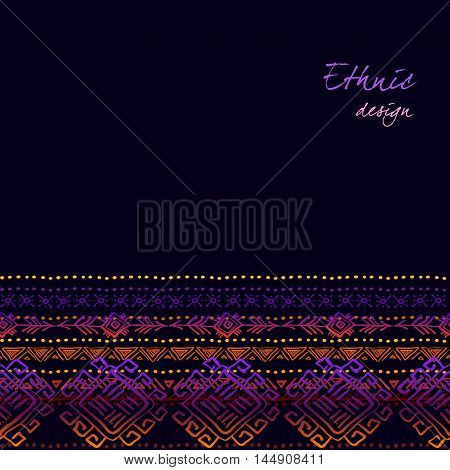 Dark horizontal seamless border with tribal ornament ethnic stripes in black background. Geometric colorful design. Vector illustration stock vector.
