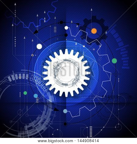 Vector illustration gear wheel and circuit board.Hi-tech digital technology and engineering, digital telecom technology concept. Abstract futuristic on dark blue color background