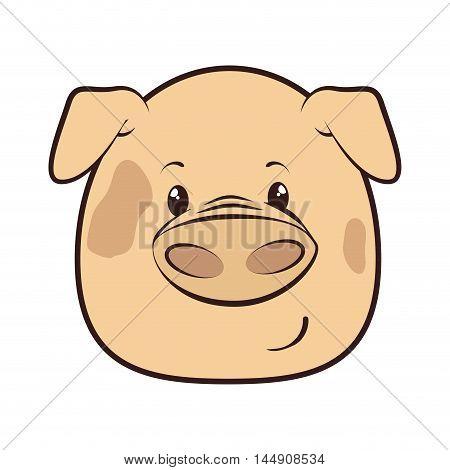 pig face  animal adorable piggy cartoon farm character vector illustration