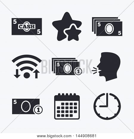 Businessman case icons. Currency with coins sign symbols. Wifi internet, favorite stars, calendar and clock. Talking head. Vector