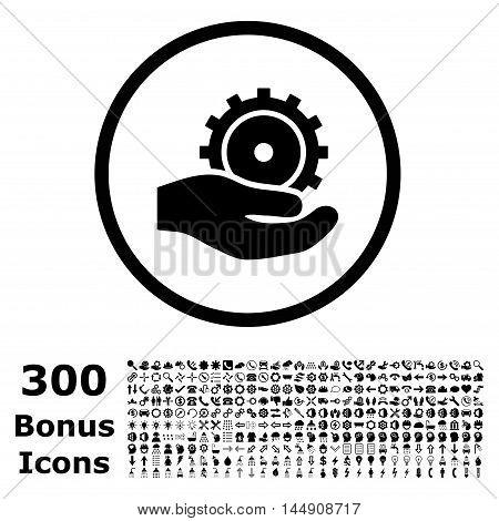 Development Service rounded icon with 300 bonus icons. Glyph illustration style is flat iconic symbols, black color, white background.