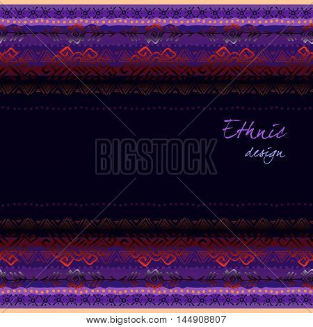 Dark horizontal seamless border frame with tribal ornament ethnic stripes in black background. Geometric colorful design. Vector illustration stock vector.