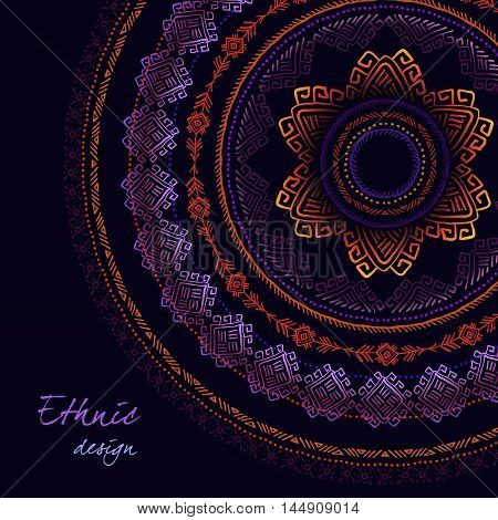 Sunny circle tribal ornament frame and black background. Night sky concept. Geometric ethnic colorful design. Vector illustration stock vector.