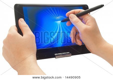 drawing with pen on touch computer