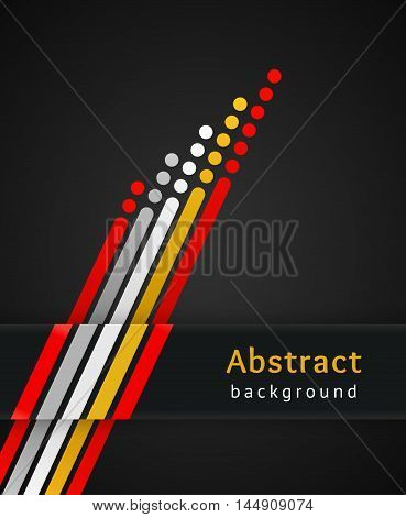 Colored stripes with circles over black background. Retro vector illustration. Design template. Abstract lines directed upwards. Concept of leadership competition success and etc