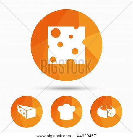 Cheese icons. Round cheese wheel sign. Sliced food with chief hat symbols. Triangular low poly buttons with shadow. Vector