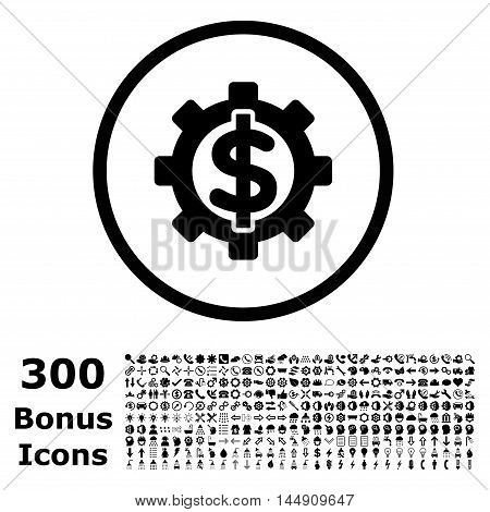 Financial Options rounded icon with 300 bonus icons. Glyph illustration style is flat iconic symbols, black color, white background.