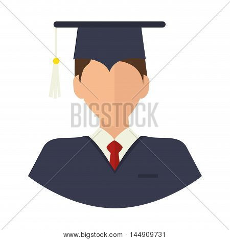 graduation man wearing gown and cap academic celebration vector illustration