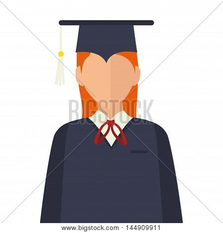 graduation woman wearing gown and cap academic celebration vector illustration