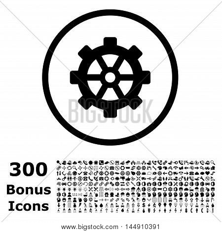 Gear rounded icon with 300 bonus icons. Glyph illustration style is flat iconic symbols, black color, white background.