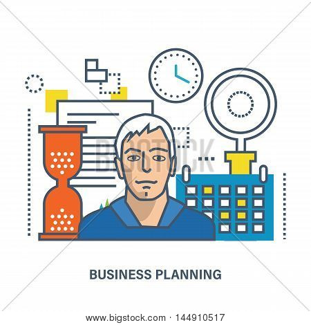 Concept of business planning and office working. Color Line icons. Flat Vector illustration