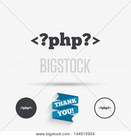 PHP sign icon. Programming language symbol. Flat icons. Buttons with icons. Thank you ribbon. Vector