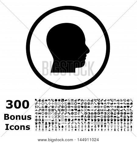 Head Profile rounded icon with 300 bonus icons. Glyph illustration style is flat iconic symbols, black color, white background.
