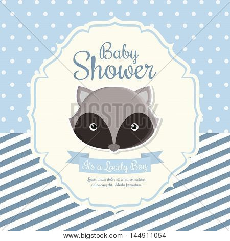 raccoon animal cartoon baby shower card celebration party icon. Colorful and flat design. Vector illustration
