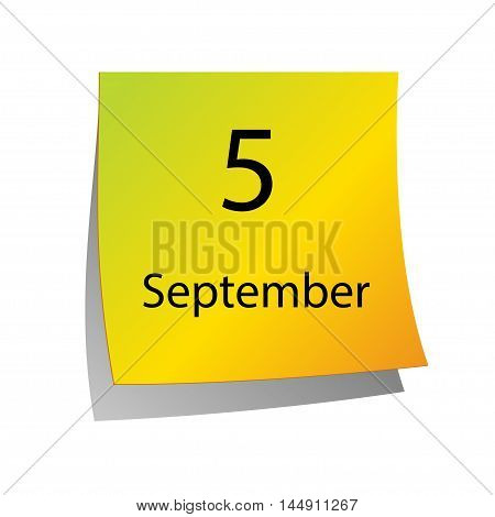 The fifth of September in Calendar icon on white background