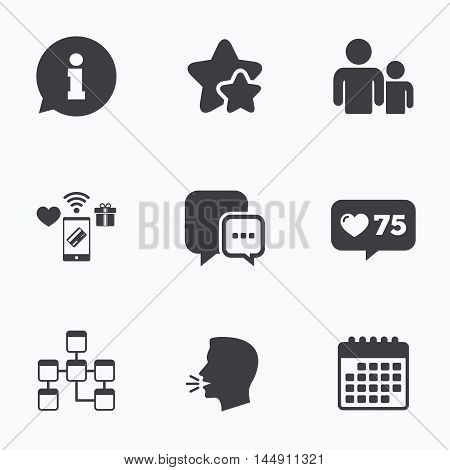 Information sign. Group of people and database symbols. Chat speech bubbles sign. Communication icons. Flat talking head, calendar icons. Stars, like counter icons. Vector