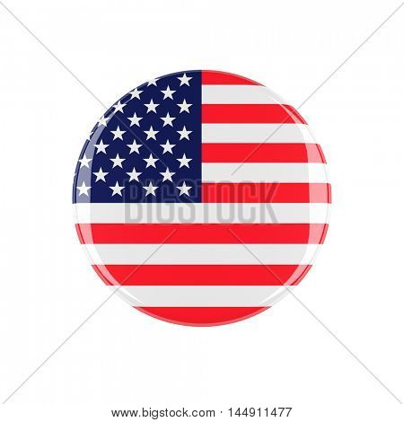 usa 3d button isolated on white background