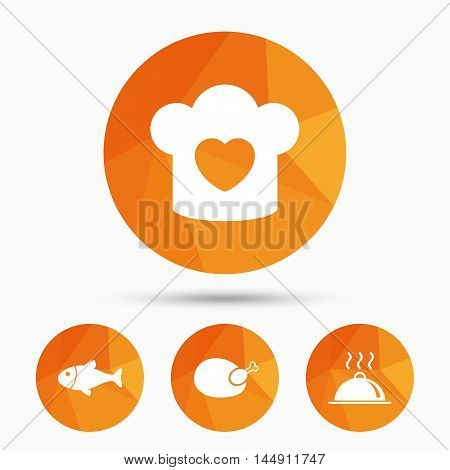 Chief hat with heart and cooking pan icons. Fish and chicken signs. Hot food platter serving symbol. Triangular low poly buttons with shadow. Vector