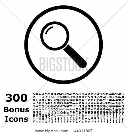 Magnifier rounded icon with 300 bonus icons. Glyph illustration style is flat iconic symbols, black color, white background.