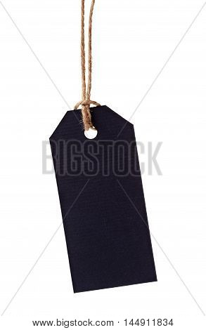 Price tag or label from blue paper on twine cord isolated on white background.