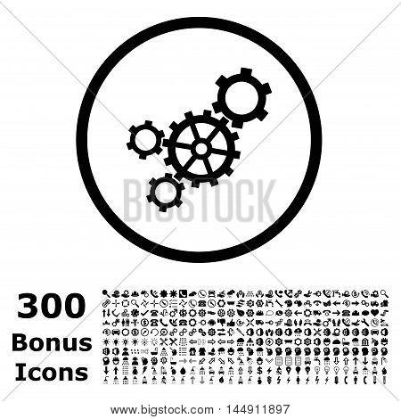 Mechanism rounded icon with 300 bonus icons. Glyph illustration style is flat iconic symbols, black color, white background.