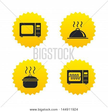Microwave grill oven icons. Cooking pan signs. Food platter serving symbol. Yellow stars labels with flat icons. Vector