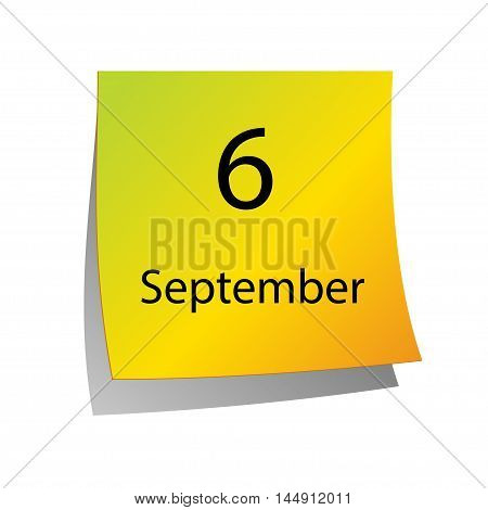 The sixth of September in Calendar icon on white background