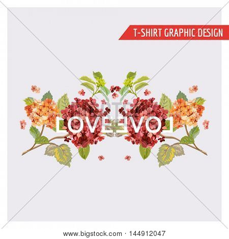 Floral Hortensia Card Graphic Design - for T-shirt, Fashion, Prints - in Vector