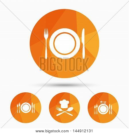 Plate dish with forks and knifes icons. Chief hat sign. Crosswise cutlery symbol. Dining etiquette. Triangular low poly buttons with shadow. Vector