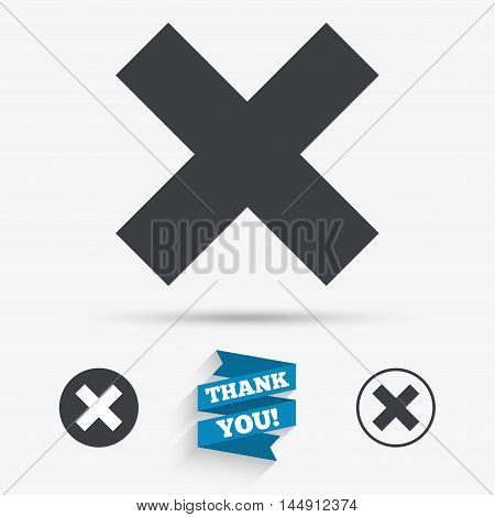 Delete sign icon. Remove button. Flat icons. Buttons with icons. Thank you ribbon. Vector