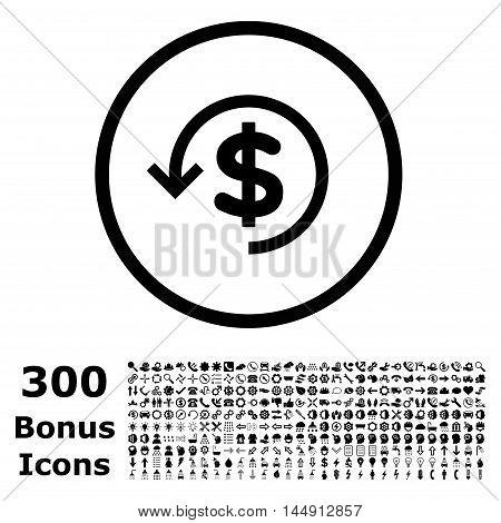 Refund rounded icon with 300 bonus icons. Glyph illustration style is flat iconic symbols, black color, white background.