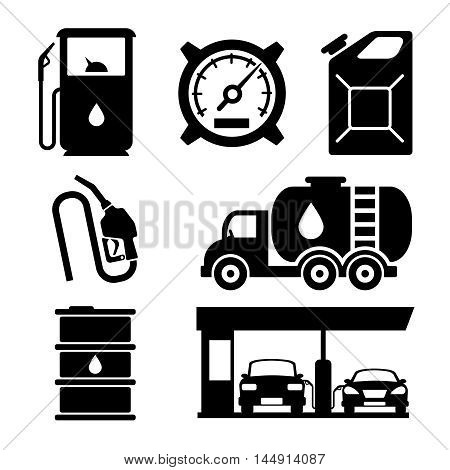 Gas station vector icons set. Gas icon, car and oil icon, fuel gasoline icon illustration