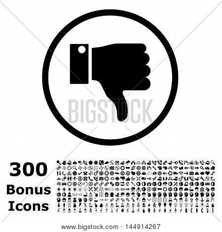 Thumb Down rounded icon with 300 bonus icons. Glyph illustration style is flat iconic symbols, black color, white background.