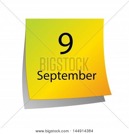 The ninth of September in Calendar icon on white background