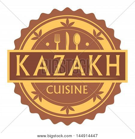 Abstract stamp or label with the text Kazakh Cuisine written inside, traditional vintage food label, with spoon, fork, knife symbols, vector illustration