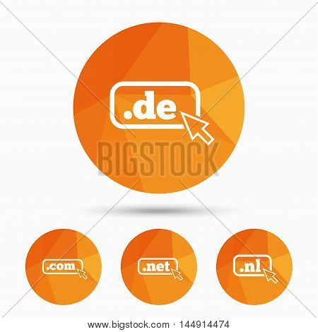 Top-level internet domain icons. De, Com, Net and Nl symbols with cursor pointer. Unique national DNS names. Triangular low poly buttons with shadow. Vector