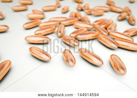 Mixture of pills, 3D illustration. Can be used in pharmacology and medicine