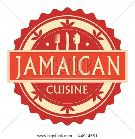 Abstract stamp or label with the text Jamaican Cuisine written inside, traditional vintage food label, with spoon, fork, knife symbols, vector illustration
