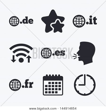 Top-level internet domain icons. De, It, Es and Fr symbols with globe. Unique national DNS names. Wifi internet, favorite stars, calendar and clock. Talking head. Vector