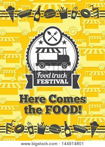 Food truck festival vector poster. Van truck food festival, cafe street food truck, sticker food truck festival. Vector illustration